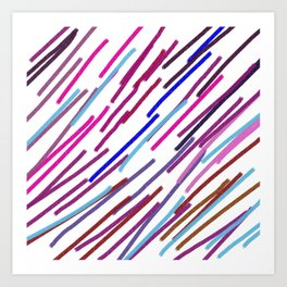 Wint. lines ethnic blue, pink on white Art Print