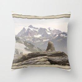 VINTAGE STONE MONUMENT AND MOUNT SHUKSAN Throw Pillow