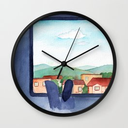 On the train to Hometown watercolor illustration Wall Clock