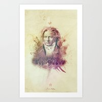 beethoven Art Prints featuring Beethoven by Rafal Rola