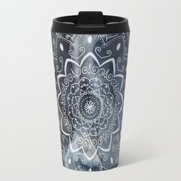Namaste white mandala on blue Travel Mug