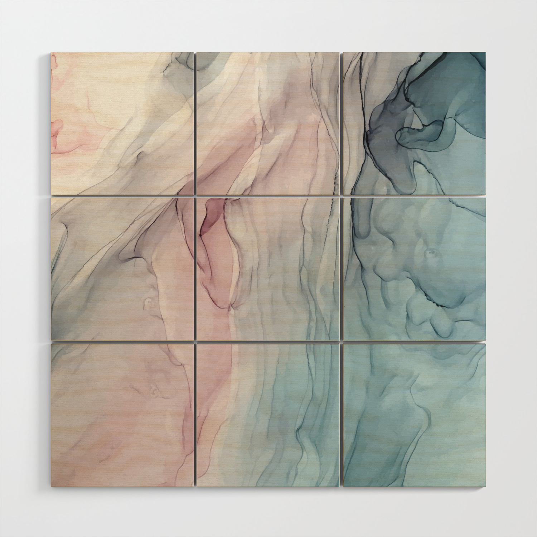 Calming pastel flow blush grey and blue wood wall art by elizabethschulz