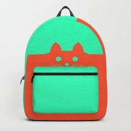 Meow Orange Turquoise Backpack