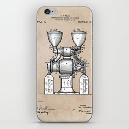patent art Wear Combined Coffee grinder and cleaner 1911 iPhone Skin