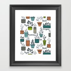 Black Border Herbs Framed Art Print