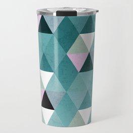 Geometric Prisme Pattern - Teal & Pink Travel Mug