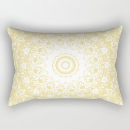 White Lace Mandala on Sunshine Yellow Background Rectangular Pillow