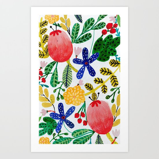 Gouache Flowers Art Print