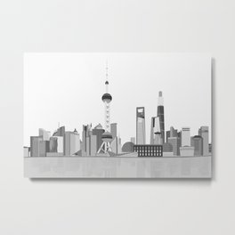 Shanghai (Black & White) Metal Print