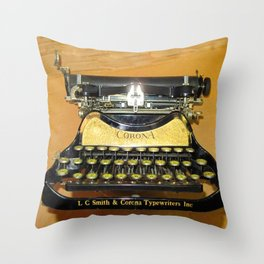 corona vintage typewriter Throw Pillow
