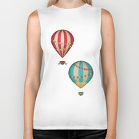 hot air balloon Biker Tanks featuring Hot Air Balloon by Zen and Chic