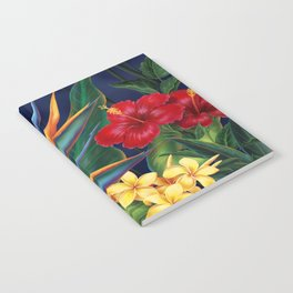 Tropical Paradise Hawaiian Floral Illustration Notebook
