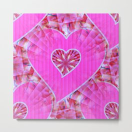 Pink Quilted Heart Metal Print
