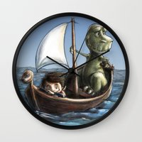 voyage Wall Clocks featuring Voyage by Allan McInnes