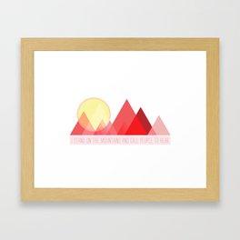 Geometric Color Block Mountains (Reds) Framed Art Print