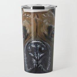 Boxer Painting, Upclose Boxer, Cute Dog Art Travel Mug