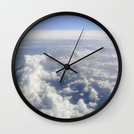 Sky Above the Clouds,Cloudscape background, Blue Sky and Fluffy Clouds Wall Clock
