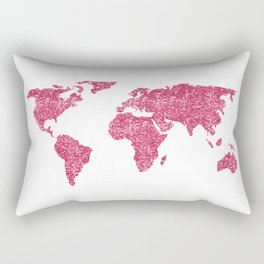 World Map Hot Pink Glitter Sparkles Rectangular Pillow