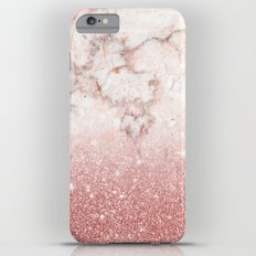 Elegant Faux Rose Gold Glitter White Marble Ombre Slim Case iPhone 6s Plus