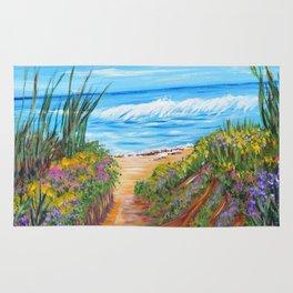 Ocean Beach Painting, Impressionism Wall Art, Beach House Home Decor Rug