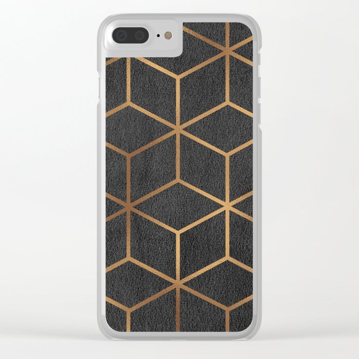 Charcoal and Gold - Geometric Textured Cube Design I Clear iPhone Case
