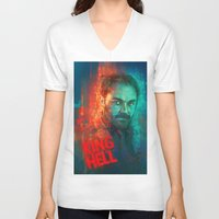 crowley V-neck T-shirts featuring Crowley... MORONS! by Sempaiko