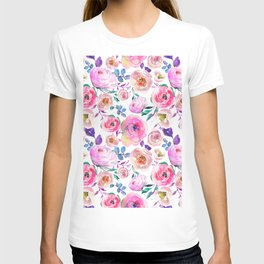 Lilac pink lavender hand painted watercolor roses floral T-shirt