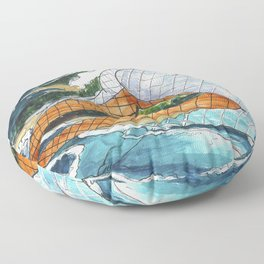 PNW Fishnets - Earth and Sky Goddess Kiss Painting Floor Pillow