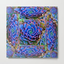 ORNATE BLUE-PINK SUCCULENT ART Metal Print