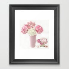 Shabby Chic Pink and White Hydrangeas Floral Print Home Decor Framed Art Print