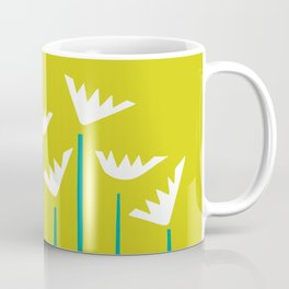 Chartreuse, Teal and White Tropical Plants Coffee Mug