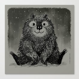 Bear In The Night Snow Canvas Print