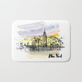 New York. Watercolor and ink. Bath Mat