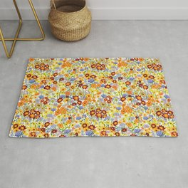 Summer Flower  Meadow on light green background Rug