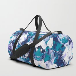 Be the Change | Modern blue teal green purple white abstract acrylic painting Duffle Bag
