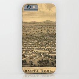 Vintage Bird's Eye Map Illustration - Santa Rosa, Sonoma County, California (1876) iPhone Case
