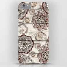 Coffee & Cocoa - brown & cream floral doodles on wood Slim Case iPhone 6 Plus