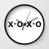 xoxo Wall Clocks featuring xoxo by Indigo Linen Paperie