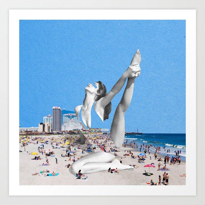 Beach Yoga Stretch Art Print