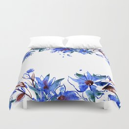 Cute watercolor hand painted flowers Duvet Cover