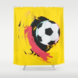 Football ball and red, yellow strokes Shower Curtain