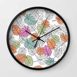 Monstera - Lines - Pattern - Colors II Wall Clock