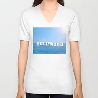 hollywood V-neck T-shirts featuring Sea Hollywood by Lord Solomon's Gallery