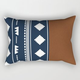 Southwestern Navy with faux leather texture Rectangular Pillow