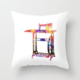Old Sewing Machine Quote Art Design Inspirational Throw Pillow