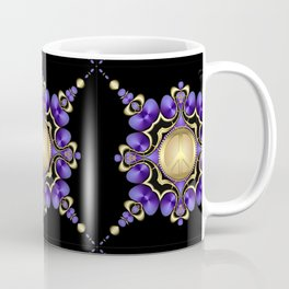 Purple Satin Golden Peace Coffee Mug