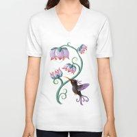 hummingbird V-neck T-shirts featuring Hummingbird by Freeminds
