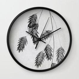 oat grass in black and white Wall Clock