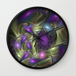 Magical Lights, Fractal Art Colorful Abstract Wall Clock