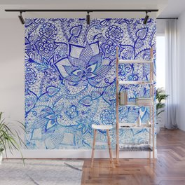 Modern china blue ombre watercolor floral lace hand drawn illustration Wall Mural